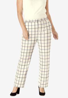Wool-Blend Trousers, TEAL PURPLE SIMPLE PLAID