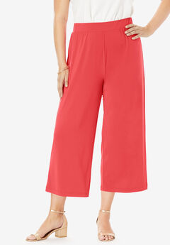 Travel Stretch Knit Cropped Pants, SOFT GERANIUM