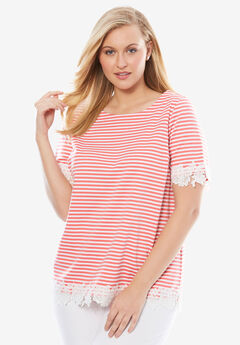 Lace Trimmed Ponte Tee,