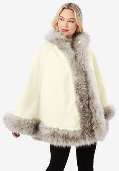 Faux Fur Trim Cape, IVORY