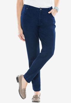 Classic Cotton Denim Straight Jeans, INDIGO WASH