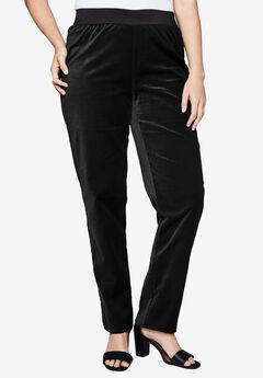 Velvet Straight Leg Pant, BLACK