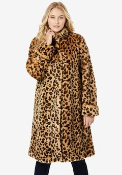 Faux Fur Swing Coat, LEOPARD