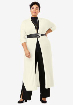 Cotton Cashmere Duster Sweater, IVORY
