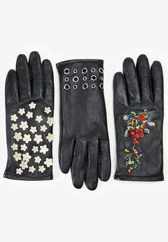 Embellished Leather Gloves,