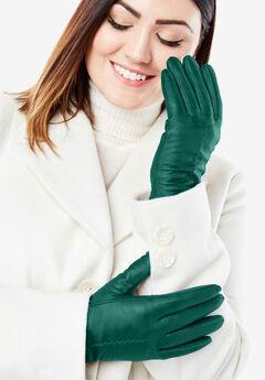 Leather Gloves, DARK EMERALD