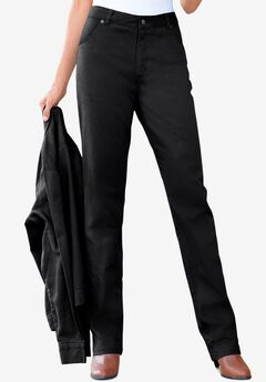 Classic Cotton Denim Straight Jeans, BLACK