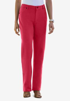 Classic Cotton Denim Straight Jeans, CLASSIC RED