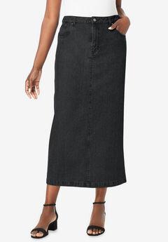 Classic Cotton Denim Long Skirt, BLACK