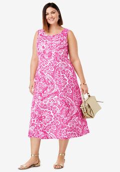 Linen Fit & Flare Dress, ROYAL ROSE LOTUS PAISLEY