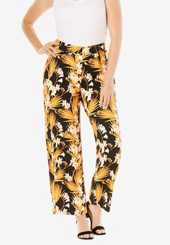 Everyday Stretch Knit Palazzo Pant, BLACK HAWAIIAN GARDEN