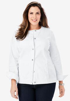 Collarless Denim Jacket, WHITE