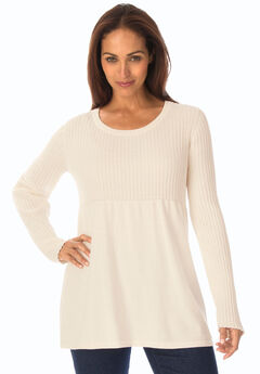 Ribbed Baby Doll Tunic Sweater,