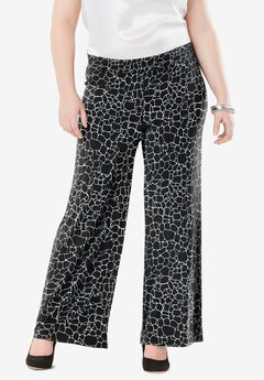 Travel Knit Wide Leg Pants, BLACK GIRAFFE PRINT