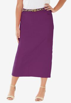 Classic Cotton Denim Long Skirt, PLUM PURPLE