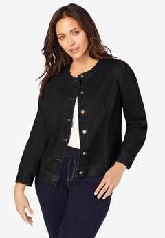 Collarless Denim Jacket, BLACK