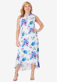 Mockneck Hi-Low Dress, TRUE PURPLE SCROLL FLORAL