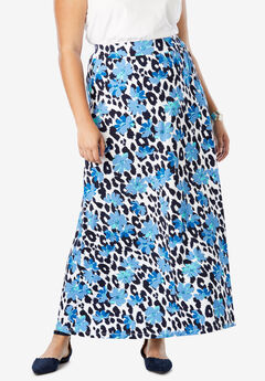Everyday Knit Maxi Skirt, NAVY CHEETAH FLORAL