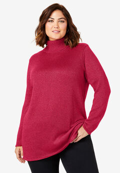 Shimmer Turtleneck, CLASSIC RED