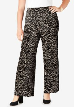 Everyday Stretch Knit Palazzo Pant, CHEETAH PRINT