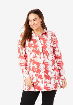 Poplin Tunic, GERANIUM TROPICAL LEAVES