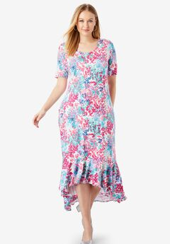 Everyday Knit Flounce Hem Maxi Dress, BRIGHT BERRY LEAF