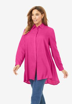 Soft Fit & Flare Tunic, TROPICAL RASPBERRY