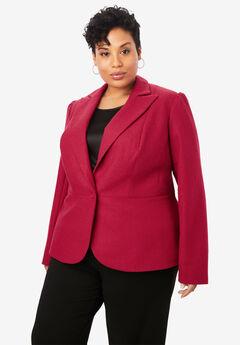 Wool-Blend Peplum Blazer, CLASSIC RED