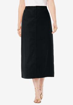 True Fit Denim Skirt, BLACK