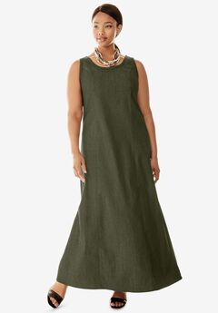 Denim Maxi Dress, DARK OLIVE GREEN