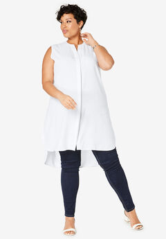 Sleeveless Mega Tunic, WHITE