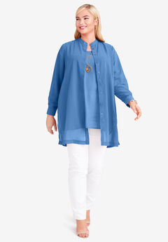 Georgette Button Front Tunic, HORIZON BLUE