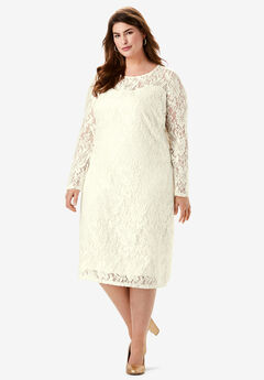 Lace Shift Dress, IVORY