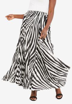 Flowing Crinkled Skirt, BLACK ZEBRA