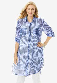 Mega Tunic, BLUE BIAS STRIPE