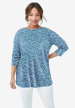 Boatneck Tunic, TEAL IVORY ANIMAL