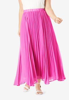 Pleated Maxi Skirt, TROPICAL RASPBERRY