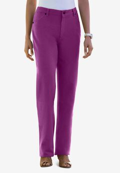Classic Cotton Denim Straight Jeans, PURPLE TULIP