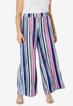 Travel Knit Wide Leg Pants, FUCHSIA PINK VERTICAL STRIPE