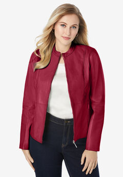 Zip Front Leather Jacket, RICH BURGUNDY