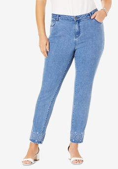 Embroidered Jeans, MEDALLION EMBROIDERY