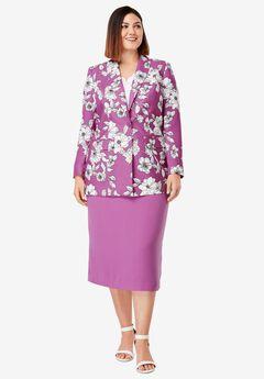 Single-Breasted Skirt Suit, FUCHSIA PINK BOTANICAL