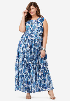 Pleated Maxi Dress, COBALT SPRING PAISLEY