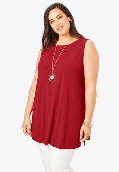 Travel Knit Tunic, CLASSIC RED