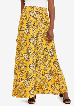 Everyday Knit Maxi Skirt, YELLOW PLAYFUL PAISLEY