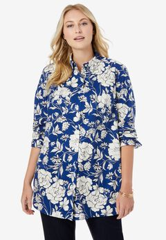 Poplin Tunic, TWILIGHT BLUE FLOWERS