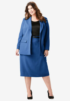 Single-Breasted Skirt Suit, TWILIGHT BLUE