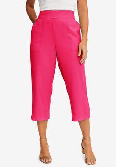Chiffon Wide-Crop Pants, PINK BURST
