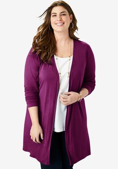Open-Front Cardigan, PURPLE TULIP