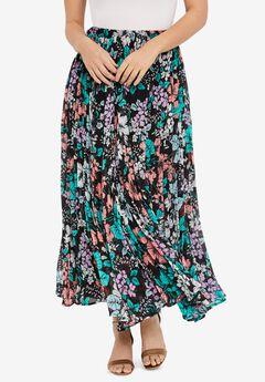 Pleated Maxi Skirt, BLACK FLOWER GARDEN